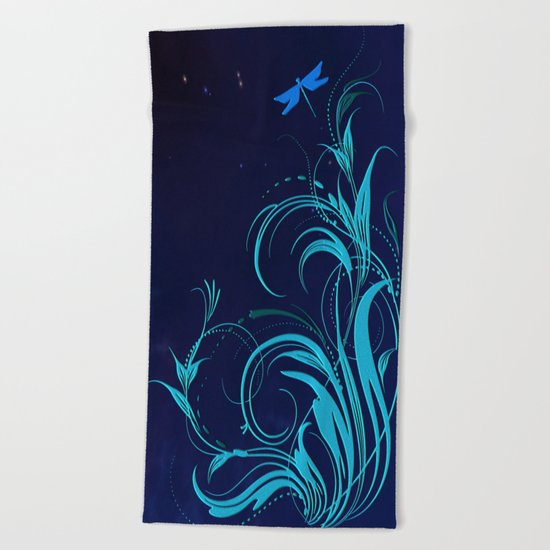 Good Night Dragonfly Beach Towel