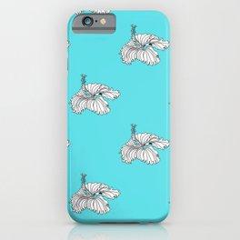 Aqua hibiscus drawing iPhone Case