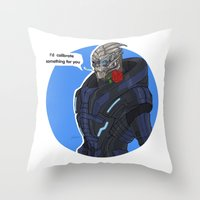 garrus Throw Pillows featuring Garrus by Pulvis