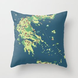 MAP OF GREECE Throw Pillow