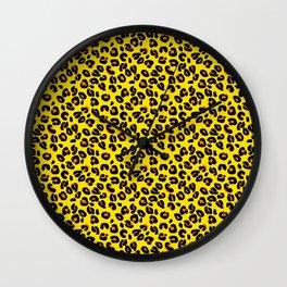 Lemon Yellow Leopard Spots Animal Print Pattern Wall Clock