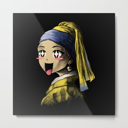 Kawaii with a Pearl Earring Metal Print