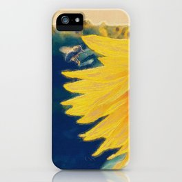 sunflower and little bee iPhone Case