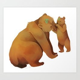 Kodiak Bears Art Print