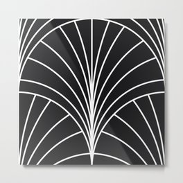Round Series Floral Burst White on Charcoal Metal Print