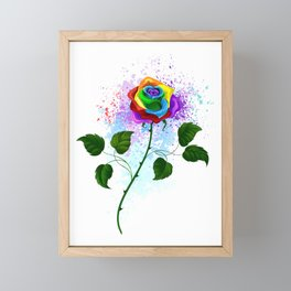 Rainbow Rose Framed Mini Art Print