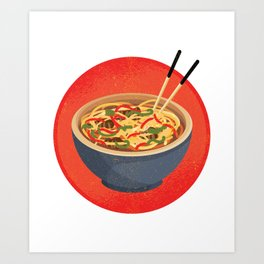Pho soup with chopsticks Art Print