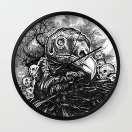 Vulture and Pine Wall Clock