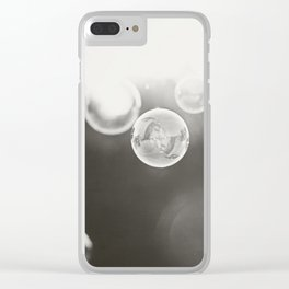 Bubble Photography, Black and White Bathroom Art, Laundry Room Photo Clear iPhone Case