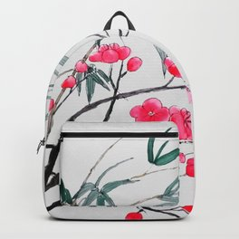 bamboo and red plum flowers Backpack