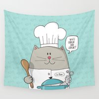 chef Wall Tapestries featuring Chef cat, chef hat, ZWD009S6 by ZeeWillDraw