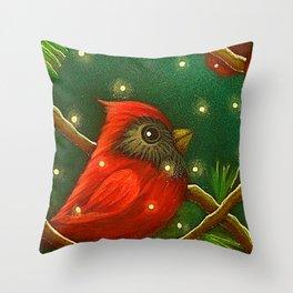 HOLIDAY TINY RED CARDINAL BIRD - MORE SNOW Throw Pillow