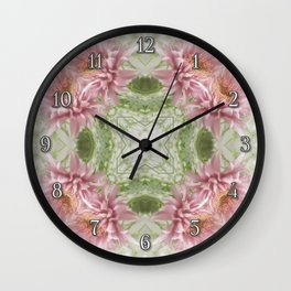 Pink Chrysanthemums Kaleidoscope Art 8 Wall Clock