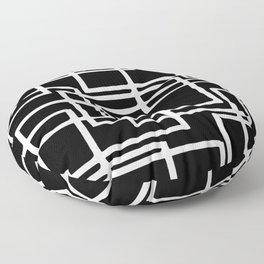 Interlocking White Squares Artistic Design Floor Pillow