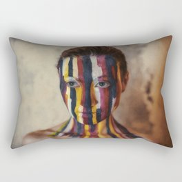Woman With Colorful Painted Face Rectangular Pillow