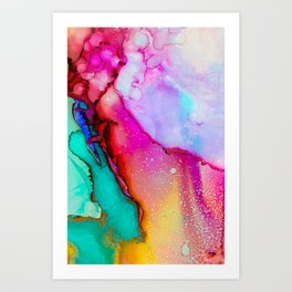 Colorful Abstract Art Pink Green Purple Art Print