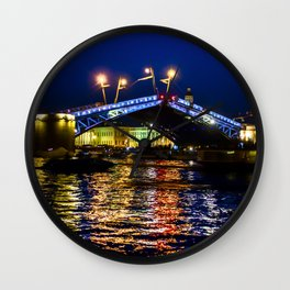 Raising bridges in St. Petersburg Wall Clock