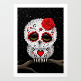 Adorable Red Day of the Dead Sugar Skull Owl Art Print