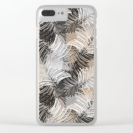 Vintage black white trendy tropical palm trees floral Clear iPhone Case