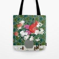 perfume Tote Bags featuring Making perfume by Yuliya