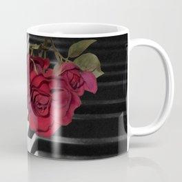 Contemporary Black & White Piano Keys Red Rose Art A509 Coffee Mug