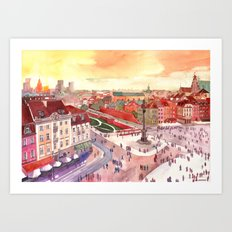 Evening in Warsaw Art Print
