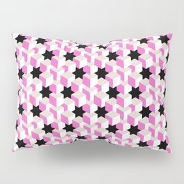 Pink and White Pattern with Gray and Black Stars Fractal Art Pillow Sham