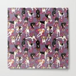 Coonhound pink floral pattern Metal Print