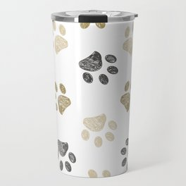 Doodle grey and gold paw print seamless fabric design repeated pattern background Travel Mug