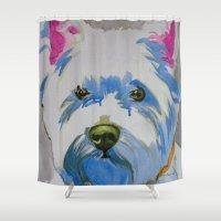 westie Shower Curtains featuring Westie Pop Art Dog Art Portrait  by Karren Garces Pet Art