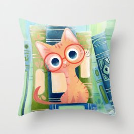 Ginger cat with glasses Throw Pillow