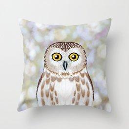 Northern saw whet owl woodland animal portrait Throw Pillow