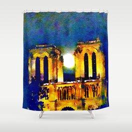 Notre Dame de Paris Full Moon Shower Curtain