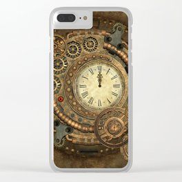 Steampunk, clockwork Clear iPhone Case