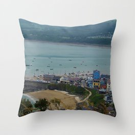 Looking down on New Quay (Wales) Throw Pillow