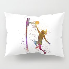 Young woman basketball player 04 in watercolor Pillow Sham