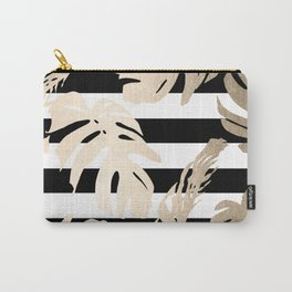 Simply Tropical Palm Leaves on Stripes Carry-All Pouch