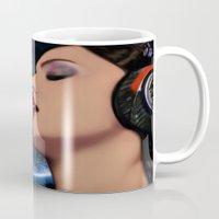 headphones Mugs featuring Headphones & Kisses by SVA🌺