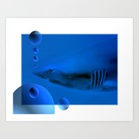 shark Art Prints featuring Shark by Laake-Photos