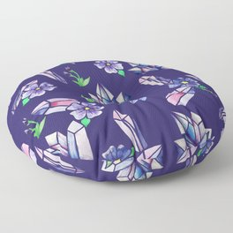 Crystals and Flowers Magickal Floor Pillow
