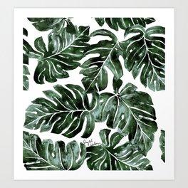 Jungle Monstera Leaves Art Print
