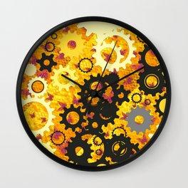 YELLOW-BLACK CLOCK WORKS MECHANICAL ART Wall Clock
