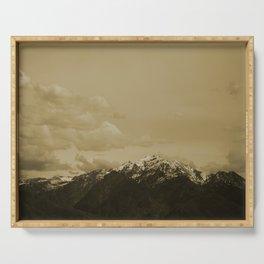 Utah Mountain in Sepia Serving Tray