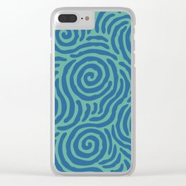 Ripple Effect Pattern Blue and Green Clear iPhone Case
