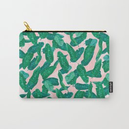 Banana Palm Leaves over Peach Carry-All Pouch