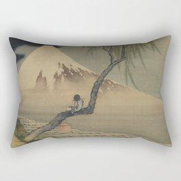 Boy Viewing Mount Fuji by Katsushika Hokusai Rectangular Pillow