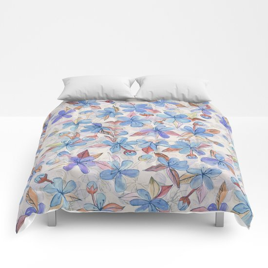 Purple Painted Floral Pattern Comforters