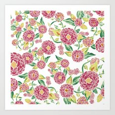 Camellia Japonica Floral Pattern Art Print