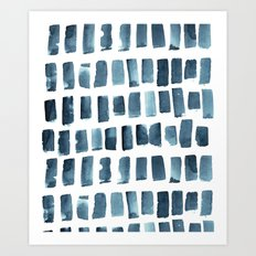 Indigo Brush Strokes Art Print