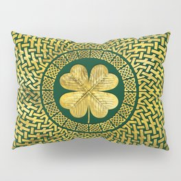 Irish Four-leaf clover with Celtic Knot Pillow Sham